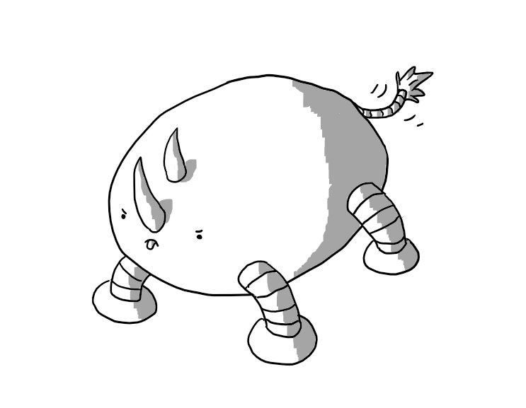 A horizontal ovoid robot with four banded legs. It has two curving horns set longitudinally on its face and a very angry expression as it bends down as if to charge. Naturally its tongue is sticking out and its waving a slim, banded tail with a tuft on the end.
