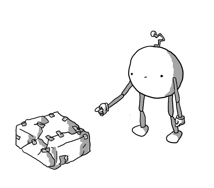 A round robot with jointed arms and legs and a crooked antenna, pointing at a present that's been wrapped incredibly badly, with ripped paper and bits of tape all over it. Oddly, its vacant smile seems to indicate it's quite proud of this disaster.