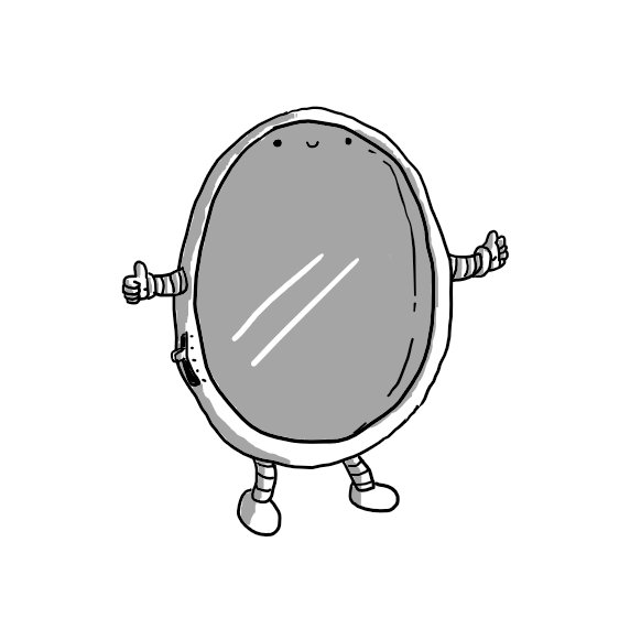 A robot in the form of a framed, oval mirror with legs at the bottom and arms on either side. Its smiling face is high up on the surface of the mirror itself. On one side of its frame is a little slide switch with dashes denoting the settings.