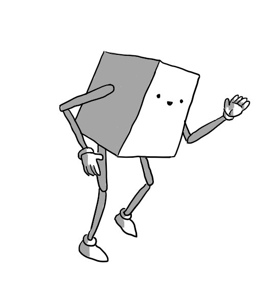 A smiling, cuboid robot with jointed arms and legs, midway through the distinctive motions of the robot dance, one foot raised as its arms move stiffly at angles, palms and fingers held in flat blades.