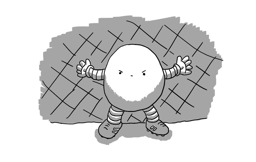 A round robot with banded arms and legs, standing in front of a goal net. It wears football boots and is standing with its arms outstretched as if defending a penalty. Its face is set in an expression of grim determination.