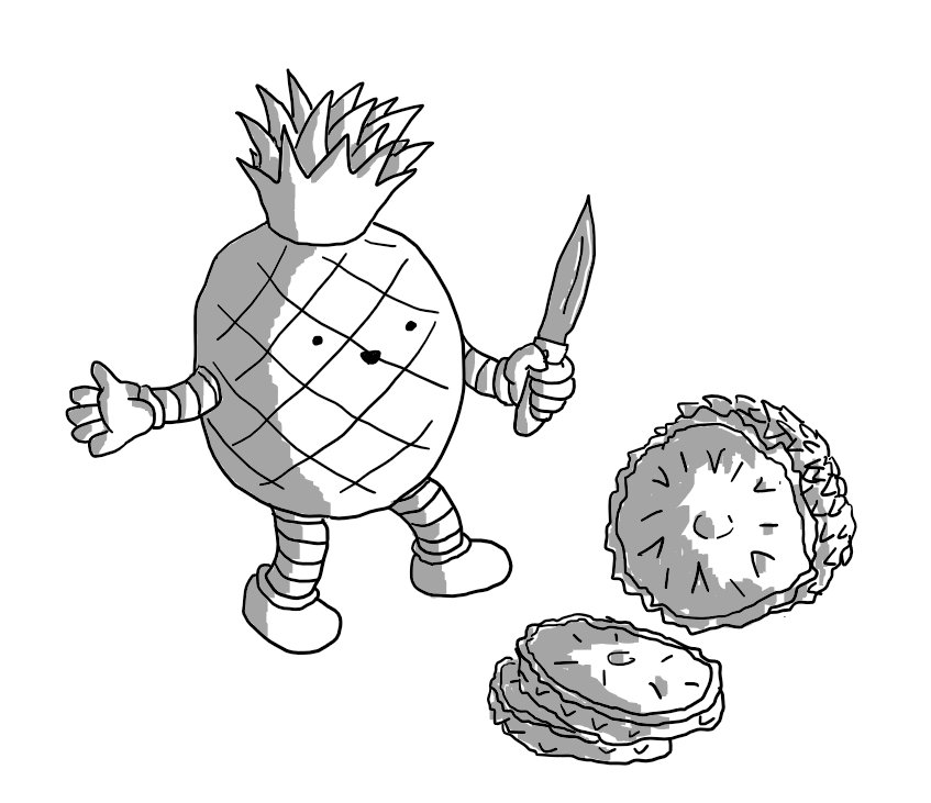 A robot that looks like a pineapple with arms and legs and a little smiley face on the front, wielding a knife over an actual pineapple cut into cross-sectional slices.
