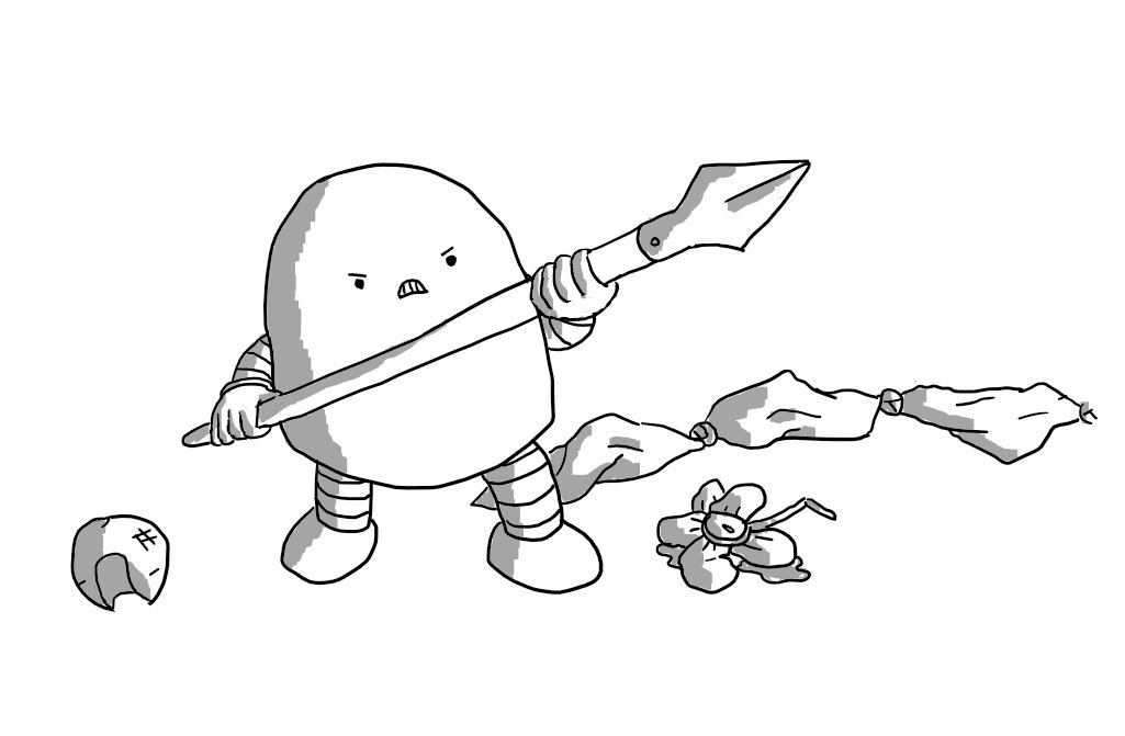 An angry, round-topped robot with banded arms and legs, brandishing a spear. Surrounding it are a battered red nose, a crumpled artificial boutonnière leaking water and a set of knotted handkerchiefs.