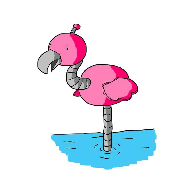 Flamingobot, but in pink.