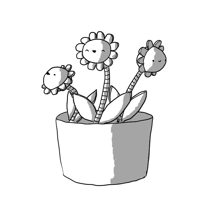 Three robotic flowers in a flowerpot. Each flower consists of a banded stem flanked by two leaf-like panels and a spherical head longitudinally bisected by a ring of even, curved petals. All the robots are smiling happily.