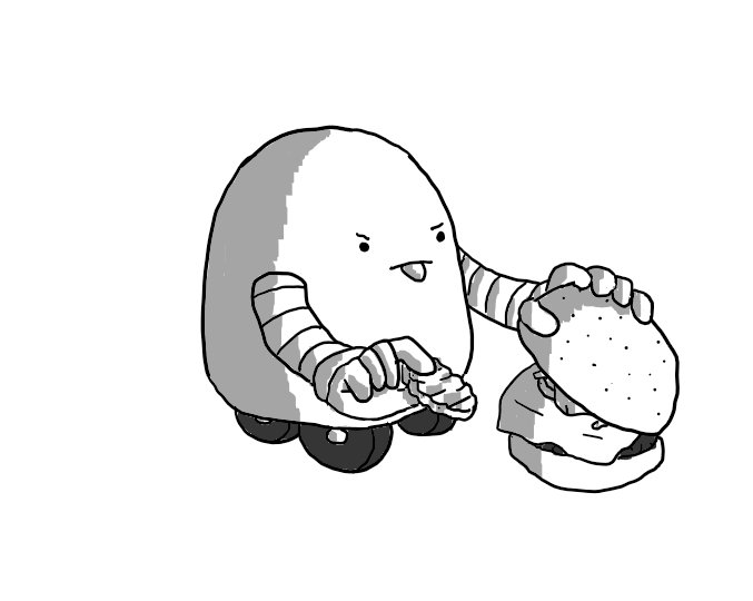 A round-topped robot with banded arms and four wheels on its base lifting up the top bun of a burger removing a slice of pickle from it while sticking out its tongue in disgust.