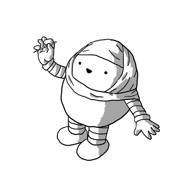 A round robot with banded arms and legs, wearing a hijab and cheerfully offering a pin.