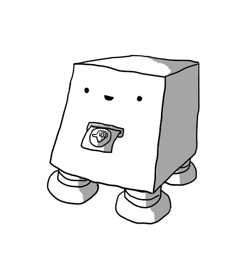 A cuboid robot with an angled front supported by four sturdy banded legs. A slot below its smiling face is issuing a piece of paper with a round adhesive sticker attached, depicting a 'thumbs up' symbol.