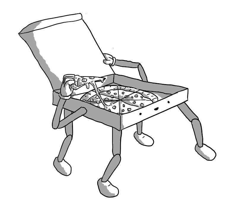 A robot in the form of an open pizza box with four jointed legs on its base. It has two jointed arms on either side, one of which is holding up the lid while the other hand lifts up a gooey slice of pizza. The robot's smiling face is on the front edge of the box.