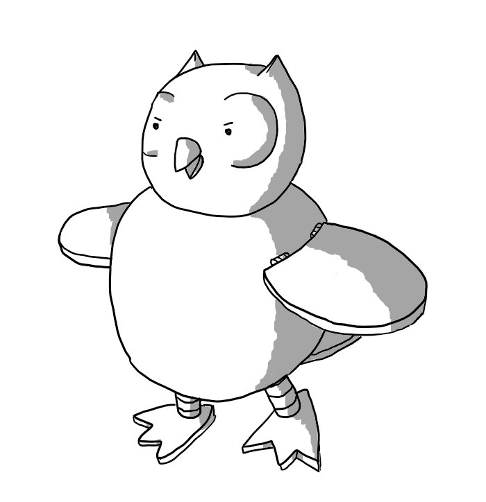 A robotic owl with hinged wings and banded legs ending in flattened taloned feet. It looks vaguely angry.