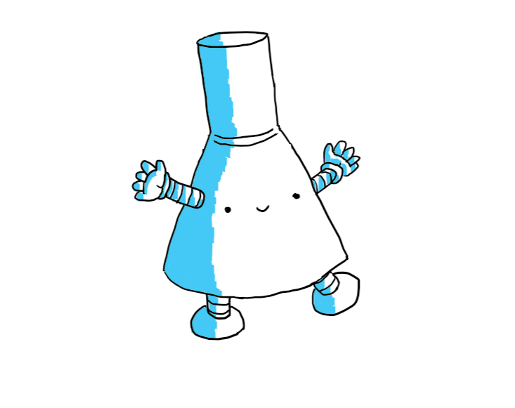 Beakerbot, but with blue shading