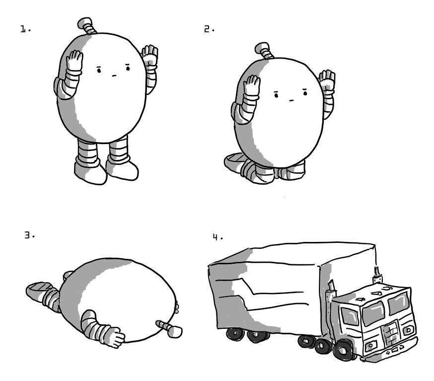 Four numbered pictures showing the steps of a transformation sequence. In the first, an ovoid robot with banded arms and legs stands with its hands raised up to either side of its face. In the next it's on its knees, in the next it's tipped over onto its face and then, finally, an Optimus Prime-style truck and trailer just takes the robot's place.