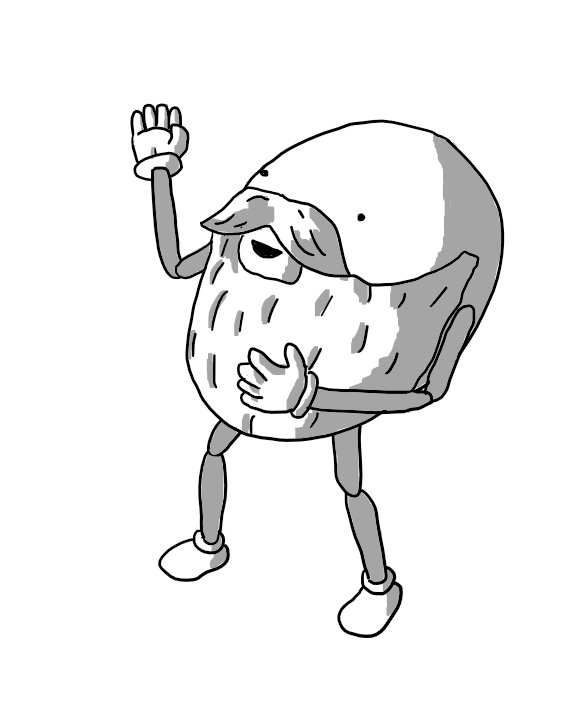 An ovoid robot robot with jointed limbs sporting a thick, full beard that covers most of its front.