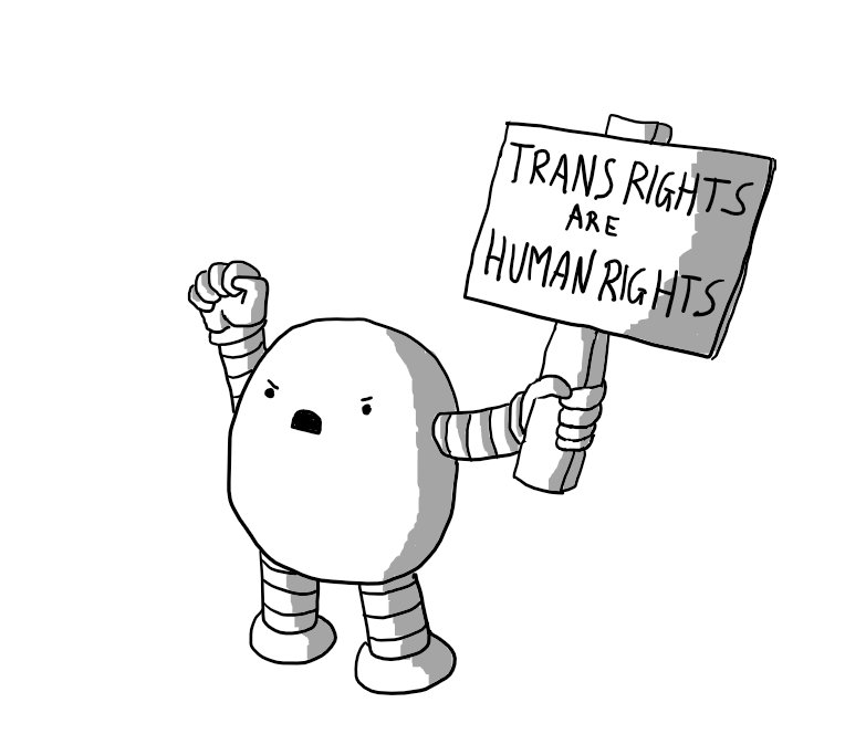 Protestbot with 'TRANS RIGHTS ARE HUMAN RIGHTS' sign