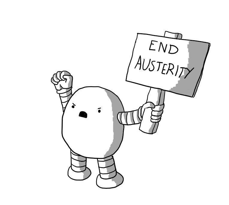 Protestbot with 'END AUSTERITY' sign