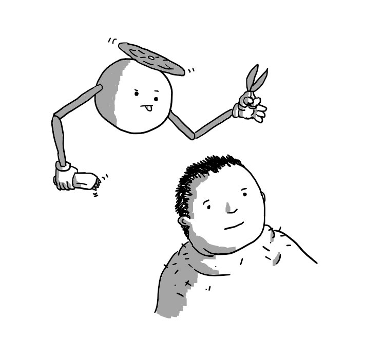 A spherical robot held aloft by a propeller on its top, with two jointed arms. It holds a pair of scissors in one hand and a buzzing electric razor in the other as it hovers over a person's head, tongue stuck out in concentration.