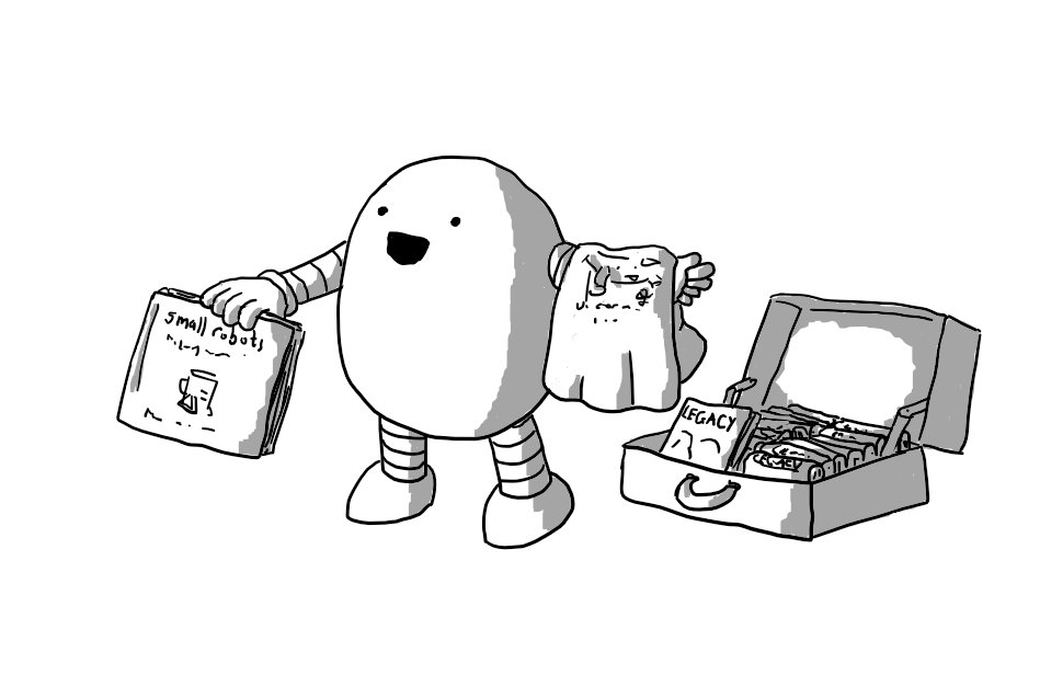 An ovoid robot with banded arms and legs, holding out a small robots book in one hand while a Unicornbot t-shirt is draped over its other arm. The robot is shouting something while beside it on the ground is an open suitcase full of copies of the novel Legacy by Thomas Heasman-Hunt.