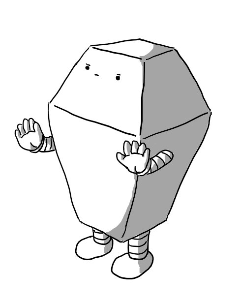 A robot shaped like an eight-sided polyhedron composed of two square frustums placed base-to-base, with the lower one much taller than the top, evoking the form of a Victorian-era gas streetlamp. The robot's face is on the top frustum, with a stern expression and its banded arms held palms out in a reassuring motion.