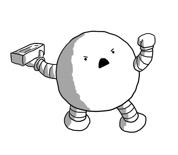 A spherical robot with banded arms and legs, raising a fist in anger as it leans back to throw a brick with the other hand. Its expression is one of furious defiance.