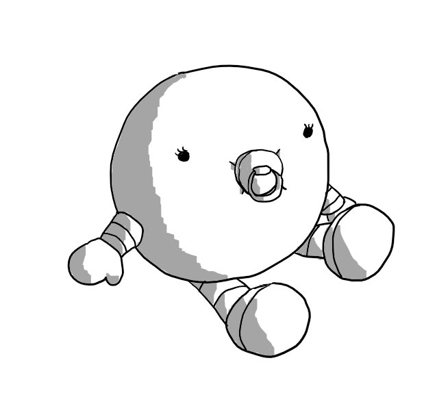 A spherical robot with banded arms and legs. It's sitting on the ground with its feet out in front of it while its mitten-like hands support it. It's sucking on a dummy and its eyes have long lashes.