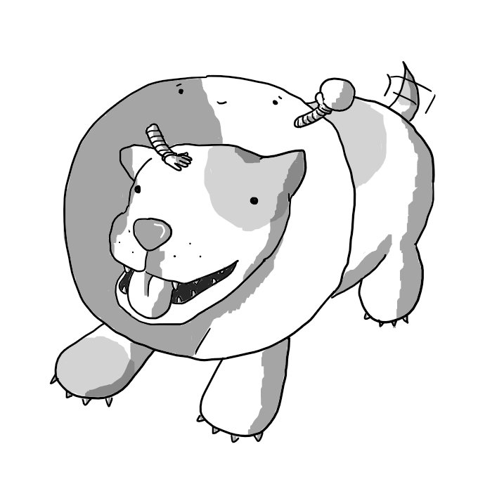 A dog wearing a cone on its neck that is actually a robot. Its face is on the interior surface of the cone, directly above the dog's head. Two banded arms also protrude from the inner-surface and one is patting the dog on its head while the other prepares to toss a small ball.