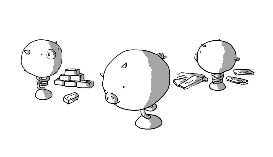 Three robots in the form of spherical pigs with little snouts, ears and curly tails, but instead of legs they each have a single spring mounted on one rounded foot. One is looking at the ground, one is standing by a pile of bricks and one is inspecting several planks of wood.