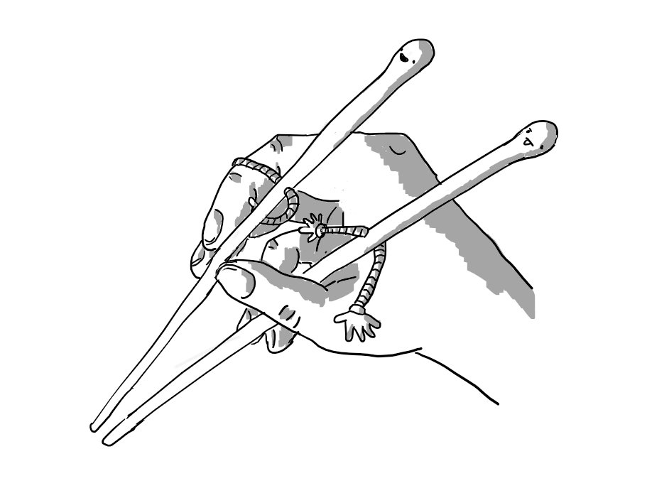A hand holding two robots in the form of chopsticks. Their faces are on the rounded top ends and they each have a pair of banded arms about halfway down their length which they're using to manoeuvre the holder's hands. One robot is smiling while the other appears deep in concentration with its tongue sticking out.