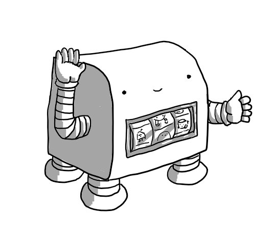 A robot in the form of a miniature slot machine. One of its banded arms serves as the arm of the machine and a clear panel on its front shows a row of spinners marked with various small robots. The robot looks happy and has four little legs supporting it.