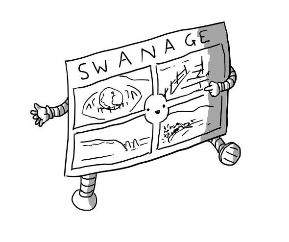 A robot in the form of a postcard from British seaside resort Swanage, with banded arms and legs. It has a traditional design, divided into four quarters each showing a local scene with the word 'SWANAGE' along the top. A circular section in the centre of the four pictures is blank to allow for the robot's smiling face. One of its hands is pointing to the pictures.
