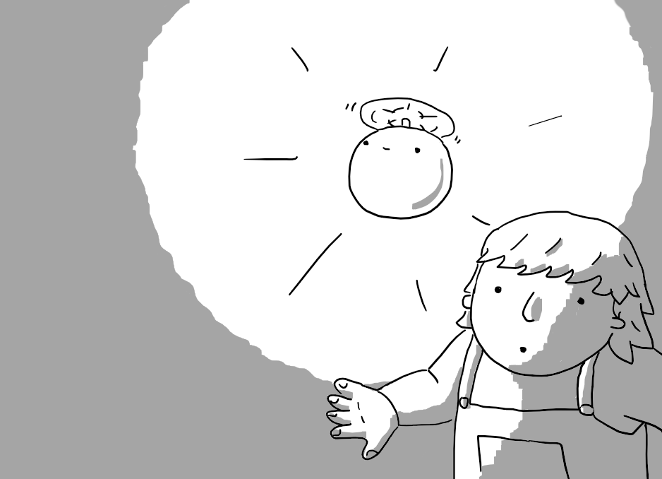 A spherical robot held aloft by a propeller on its top. It glows, casting a circle of light around it and a child creeps by just under it, looking apprehensive but lit by its reassuring luminescence.