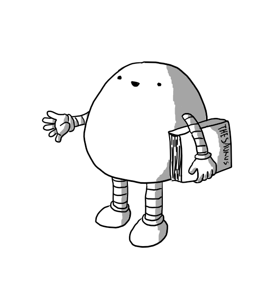 A chubby ovoid robot with banded arms and legs holding a Thesaurus under one arm as it cheerfully offers a suggestion.