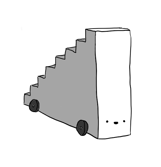 A robot shaped like a solid staircase with wheels on the bottom. Its cheerful face is on the higher end, but near the base, so the treads go down its back.