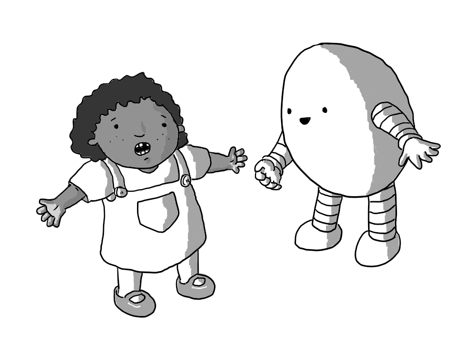 A gap-toothed little girl wearing a dungaree dress stands with her hands outstretched, imploring while an ovoid robot with banded arms and legs leans towards her, happily imparting an answer.