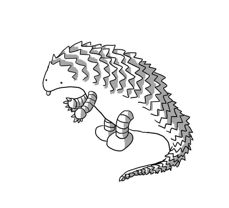 A robot in the form of a pangolin with banded arms and legs, standing on is hind legs and sticking out its tongue.