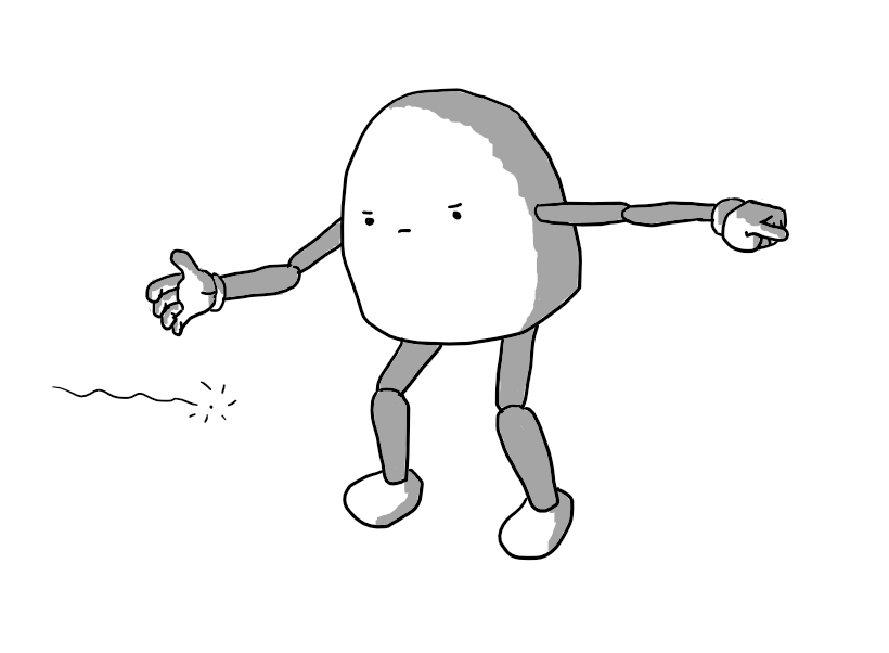A round-topped robot with jointed arms and legs, frowning at a glowing point moving past it at about waist height as it points with one hand and motions it along with the other.
