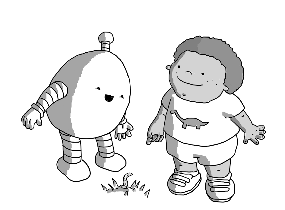An ovoid robot with banded arms and legs and an antenna standing beside a child in shorts and t-shirt who is happily pointing down at a worm they've found in the ground. The robot looks utterly delighted to be shown the worm.