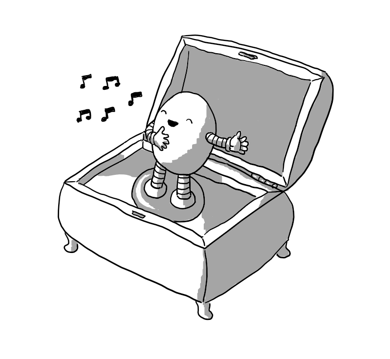 A decorative music box with its lid open. Inside, standing on a metal disc in the manner of a classic ballerina music box is an ovoid robot with banded arms and legs singing with one arm outstretched and the other hand on its chest.