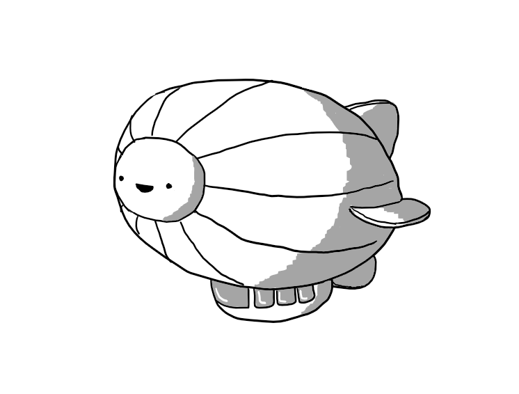 A robot in the form of an airship with longitudinal ribbing, four fins towards its rear and an enclosed gondola with several windows hanging underneath. The front section of the envelope is circular and has the robot's cheerful face in its centre.