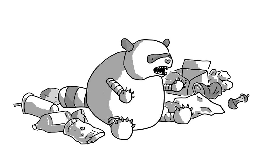 A very chubby robotic raccoon that is baring its teeth and holding out its little claws, surrounded by rubbish.