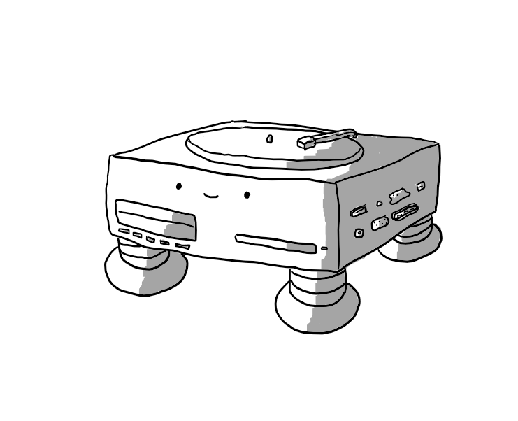 A low, cuboid robot on four banded legs. Its front has ports for VHS tapes and CDs/DVDs and its other visible side has various ports and sockets for different kinds of plugs. Its top has a vinyl record turntable.