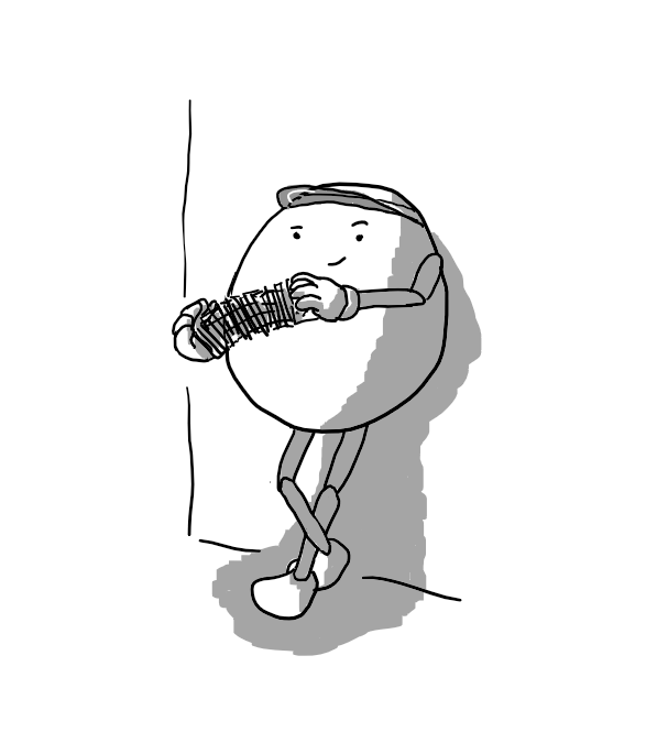 An ovoid robot with jointed arms and legs, leaning nonchalantly against a wall and smirking as it shoots a deck of cards between its hands. It's wearing a dealer's visor.