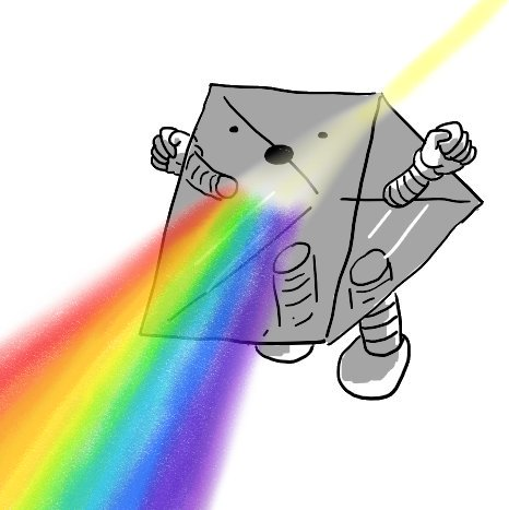 A robot in the form of a triangular glass prism, with the triangles forming its sides, from which its banded arms protrode, and one rectangular face its bottom, which has two banded legs. Its actual face is on an angled rectangular face and a beam of pale yellow light is entering the rear surface and being refracted into a rainbow coming out from below its mouth. It's yelling triumphantly, clenched fists raised.