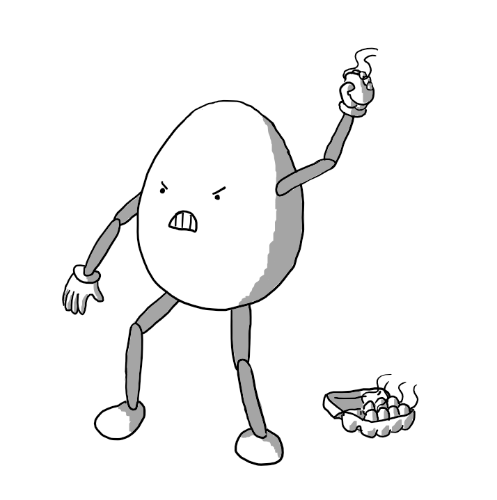 An egg-shaped robot with joined arms and legs and a very angry face throwing an egg with smell lines coming from it. On the ground next to it is a carton of eggs that also smell.