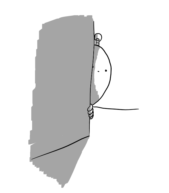 A round robot with an antenna peeking out from behind a wall with an ambivalent expression on its face.