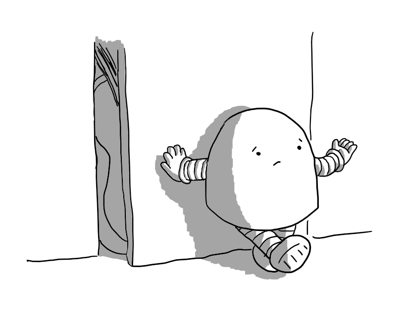 A round-topped robot with banded arms and legs, leaning nonchalantly against a closet door and holding out one hand in a helpless shrug. Just visible behind the door is a guitar.