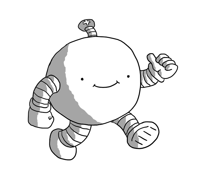 A spherical robot with banded arms and legs, walking along with a big smile on its face. It's giving a thumbs-up with one hand and has an antenna with a little plus symbol on it.