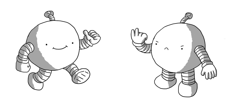 Postive bot waves a cheery hello while Negativebot grumpily flicks 'the Vs'.