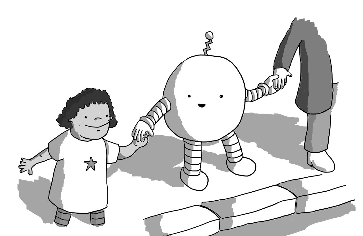 A round robot with banded arms and legs and a zig-zag shaped antenna. It's standing by a kerb, holding hands with a child in a dress and an adult, smiling at the child as if to tell them it's safe to cross the road.
