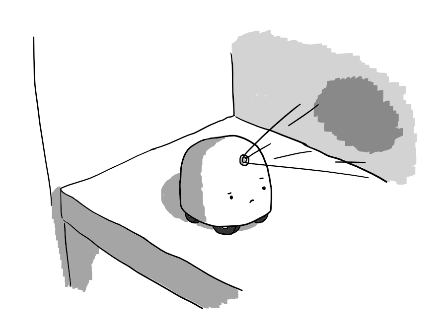 A round-topped robot with four wheels on its underside, sitting on a kitchen counter. It has s projector lens above its eyes from which beams are being thrown onto the nearby wall, creating a patch of colour. The robot looks sceptical about it.