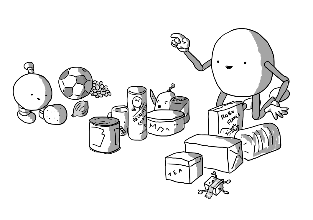 A smiling, ovoid robot with jointed arms and legs counting off three groups of objects. One is spheres (grapes, a football, an onion, an orange and Mondaybot). The next is cylinders (a can, a tube of parabola-shaped chips with a mustachioed Bigbot logo, a tub, a drinks can, Teabot and Onionbot). The last is cuboids (a box of tea, a loaf of bread, another box, cereal and a taped-down Mischiefbot).